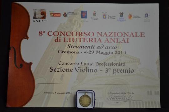 violino Modello Stradivari vincitore 3th posto e medaglia di bronzo- categoria Professionisti, Concorso Pisogne 2014.